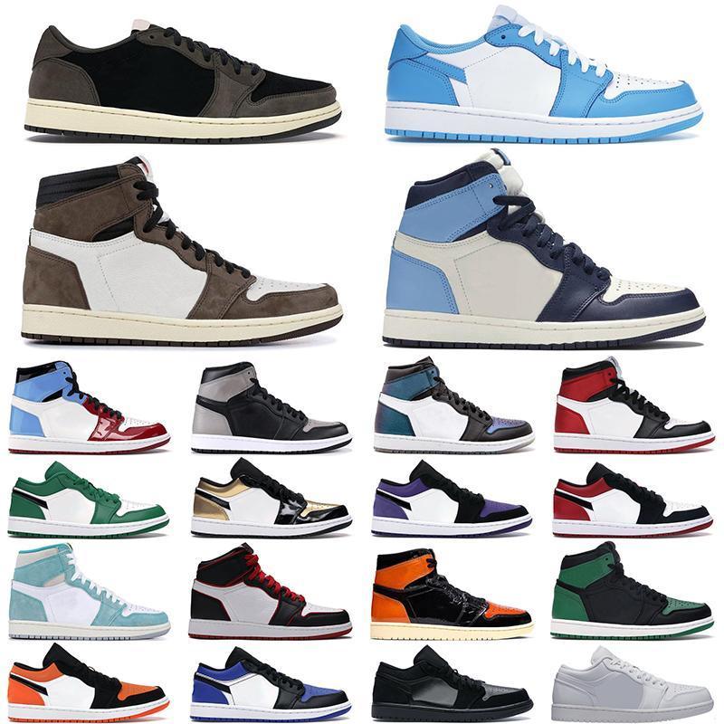 2020 Erkekler Basketbol ayakkabıları 1 Düşük Cut 1s Hight Kesim UNC Obsidian Pembe Green Court Mor Arkalık Kadınlar Erkek snea Shattered