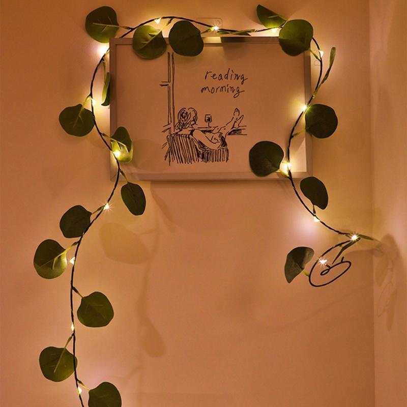 인공 2M 10M LED 식물 문자열 밝은 녹색 잎 아이비 덩굴 요정 빛 문자열 램프 화환 매달려 조명
