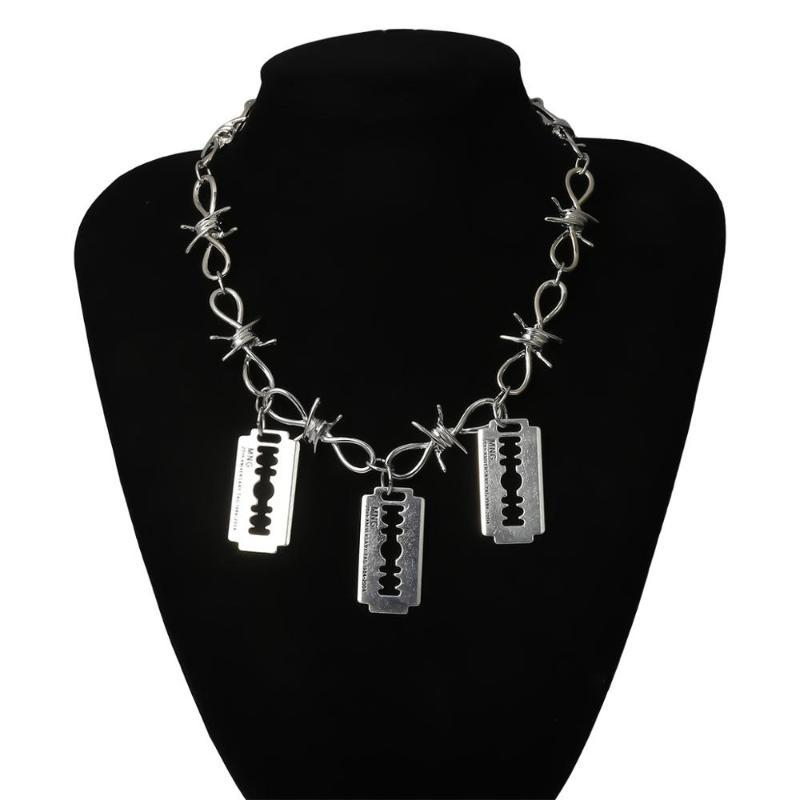 Кулон ожерелья готическое многослойное лезвие бритвы ожерелье улица панк колючей проволочной цепочки колье мужчины женские ювелирные изделия
