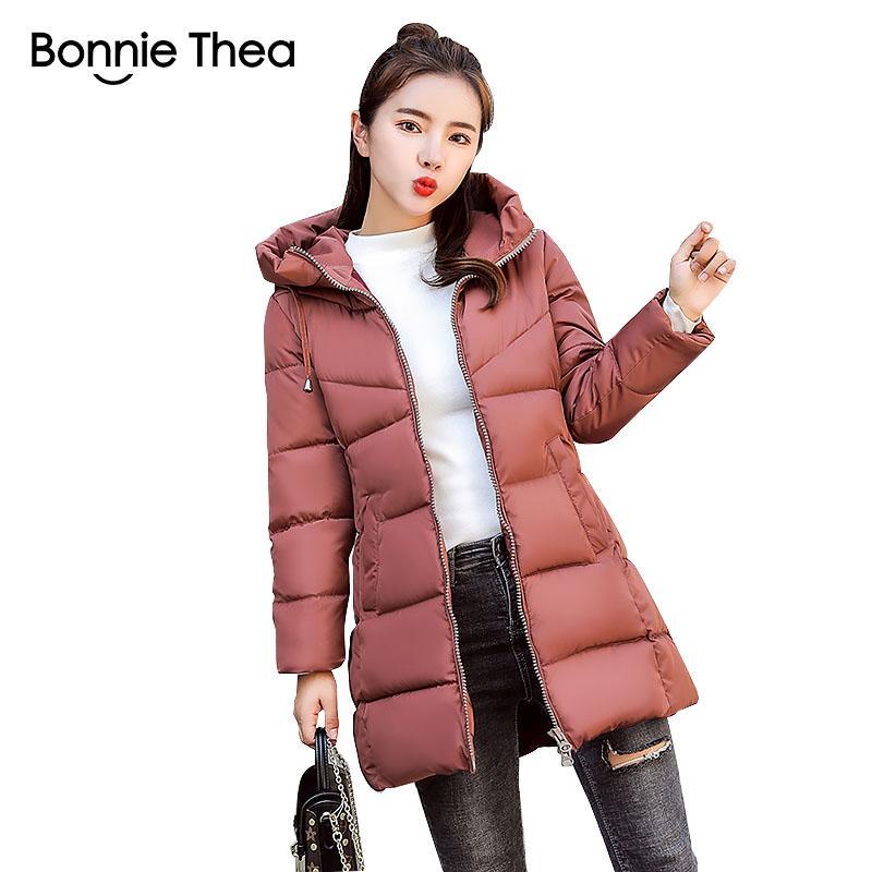 casacos de inverno Bonnie Thea mulheres Parkas feminina longo casaco de inverno Feminino encapuzados jaqueta grossa para baixo Parkas casacos de algodão Mulheres senhora