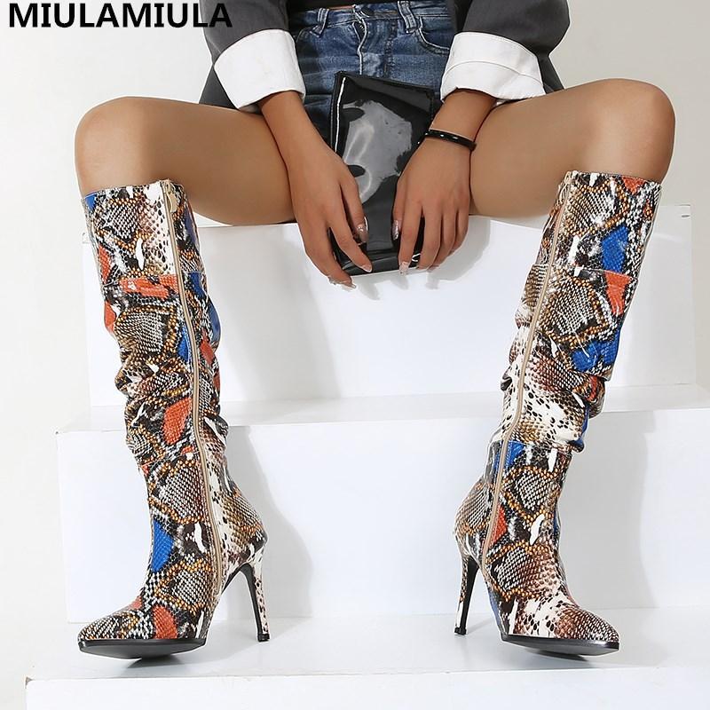핫 패션 크기 35-40 뱀 무늬 주름 가죽 높은 얇은 발 뒤꿈치 허벅지 높은 부츠에 걸쳐 무릎 Socofy 신발 여성 양말 부츠