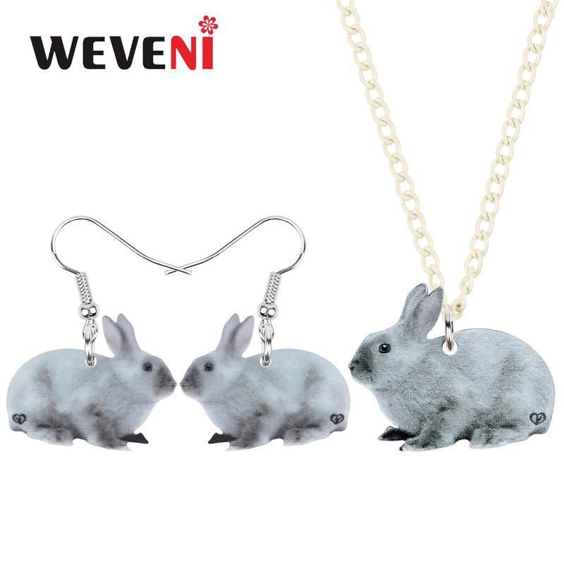 WEVENI Acrílico Páscoa Conjuntos de jóias bonito Grey Colar Hare animal coreana presentes de moda para Mulheres Meninas Decoração