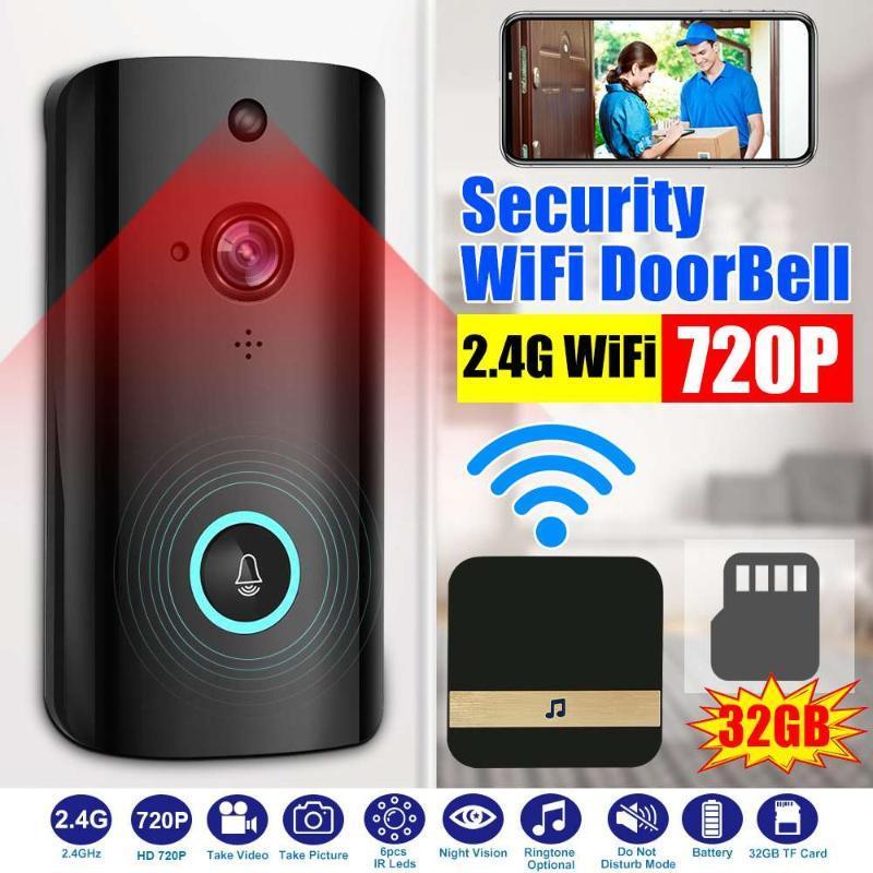Full HD 720P WIFI campainha inteligente IP Intercom campainha sem fio Motion Detection Night Vision Security Camera Com Chime