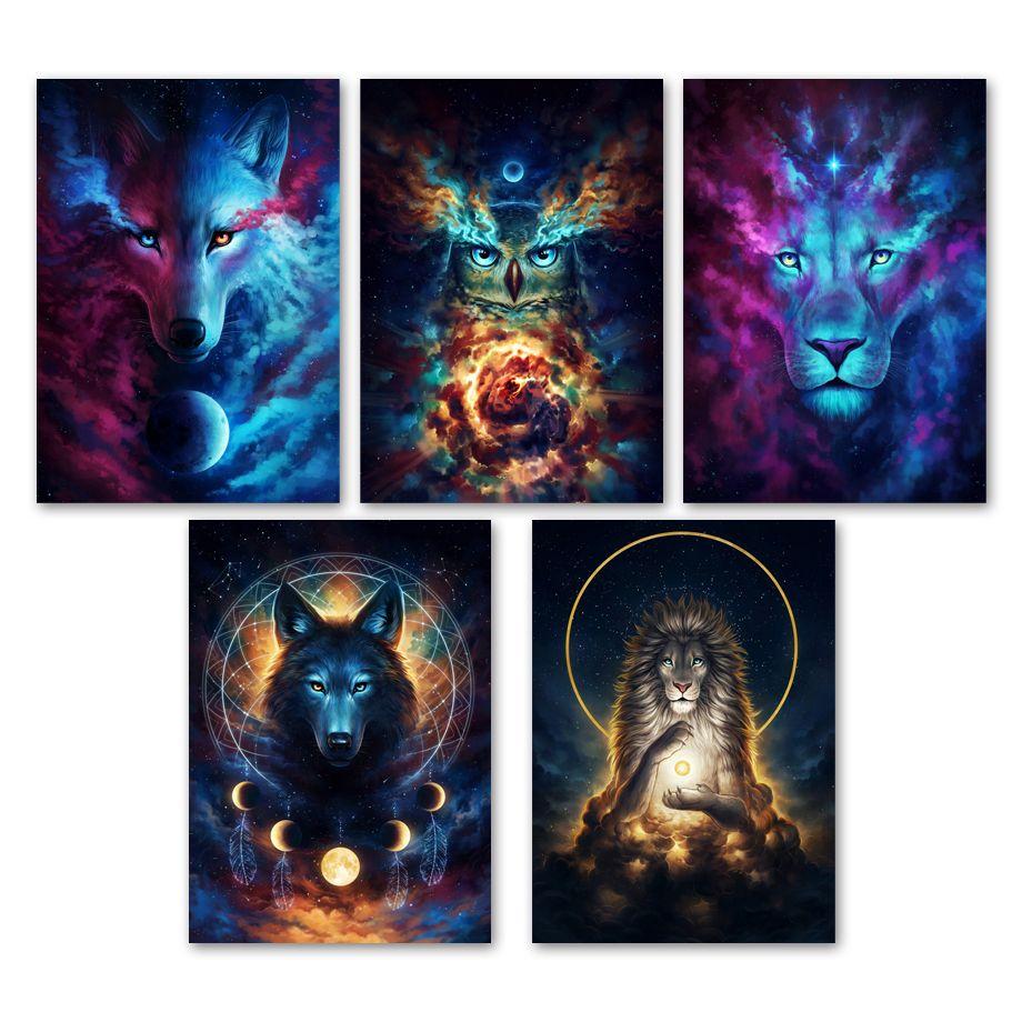Resumen León animal del búho Lobo Galaxy pared del arte de la lona de pintura nórdicos carteles y habitaciones Prints Pared Cuadros para estar Decoración