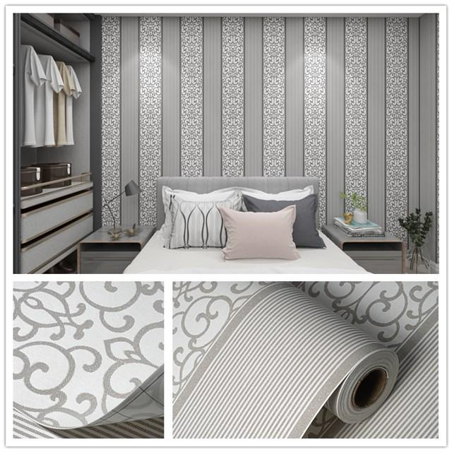 Damask Flocking Non woven Wallpaper European Style self adhesive 3D wallpaper For Home Decoration Living Room Bedroom Wall Decor