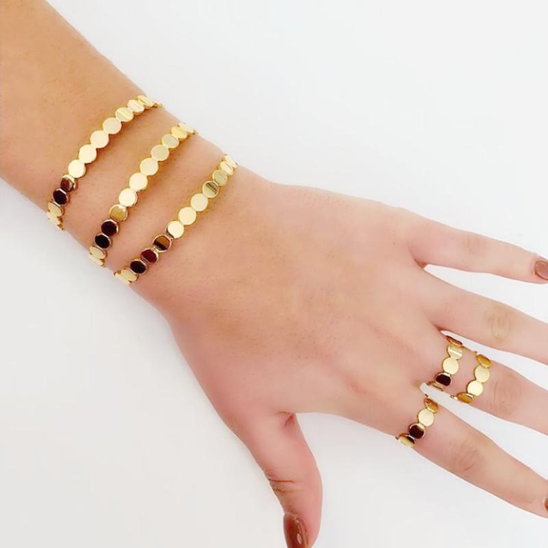 Spazzola di moda di colore dell'oro braccialetto braccialetto aperto con tutto l'onda connettore di forma regolare braccialetto braccialetto per il migliore regalo nuziale della signora