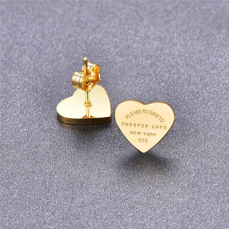 Heart Earrings Color Gift Gold- Rose Women Fine Gold-color Letters Martick Earrings Heart English With For Jewelry Stud Tvtkc