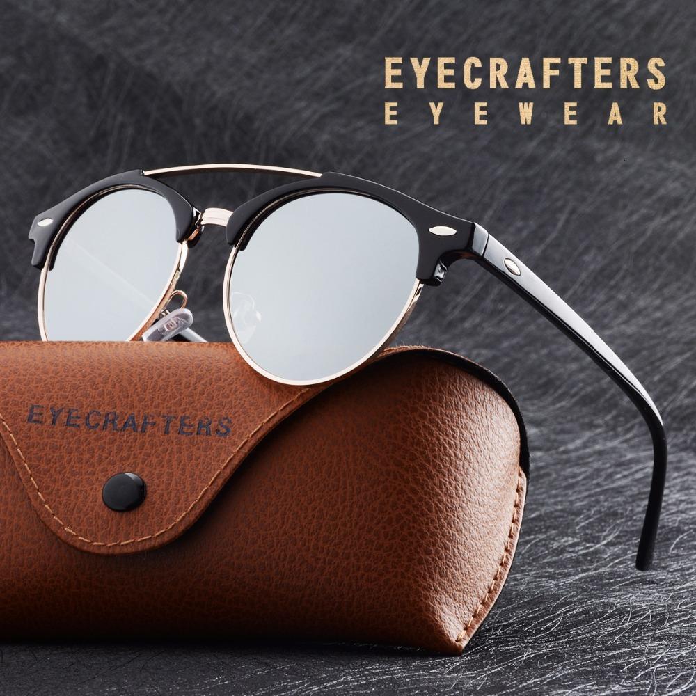 Мужская ретро поляризованной солнечных очков, Винтажный стиль зеркального, Brand Design для женщин круглого диско двойного моста очки, UV400, 2020