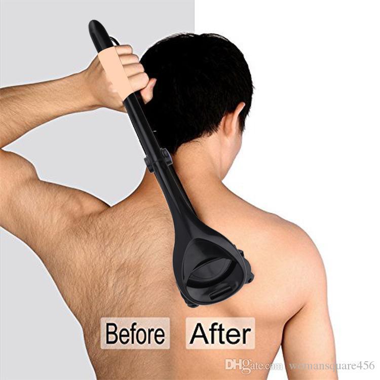 الرجال عودة ماكينة حلاقة 2.0 الظهر ماكينة حلاقة الشعر اثنين رأس شفرة طوي المتقلب الجسم الساق الحلاقة طويلة مقبض الحلاج