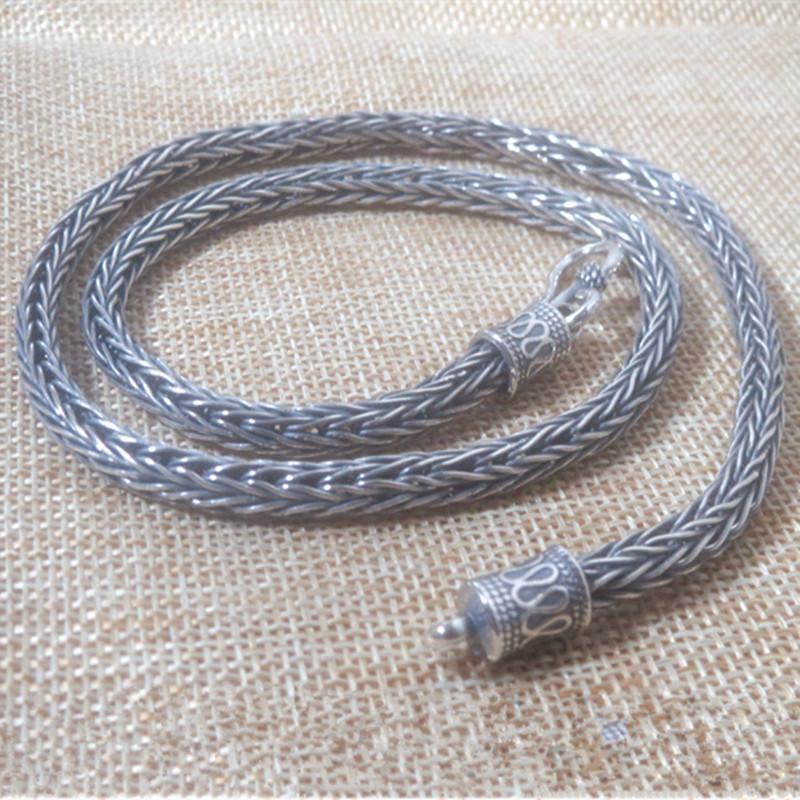 51g% 100 925 Gümüş gerdanlık Takı Kolye 5MM Zinciri MenWomen Hediye Tay Gümüş Mantra Charms Uzun Kolye kolye