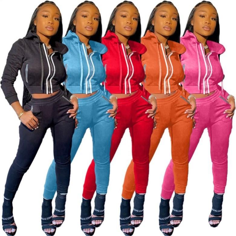 рынк толстовки поножи нарядов рубашки с длинным рукавом леггинсы брюки куртки Tracksuit 2 шт комплекта Sportsuit фуфайки сексуального Losse klw4922
