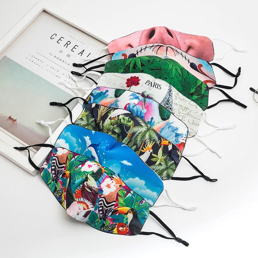 Gesichtsmaske Mode Gesichtsmaske Männer Frauen Designer-Gesichtsmasken Adult Adjustable Ohr Schnalle weiche Breath Staub Nebel Blume Galaxy Mundmasken