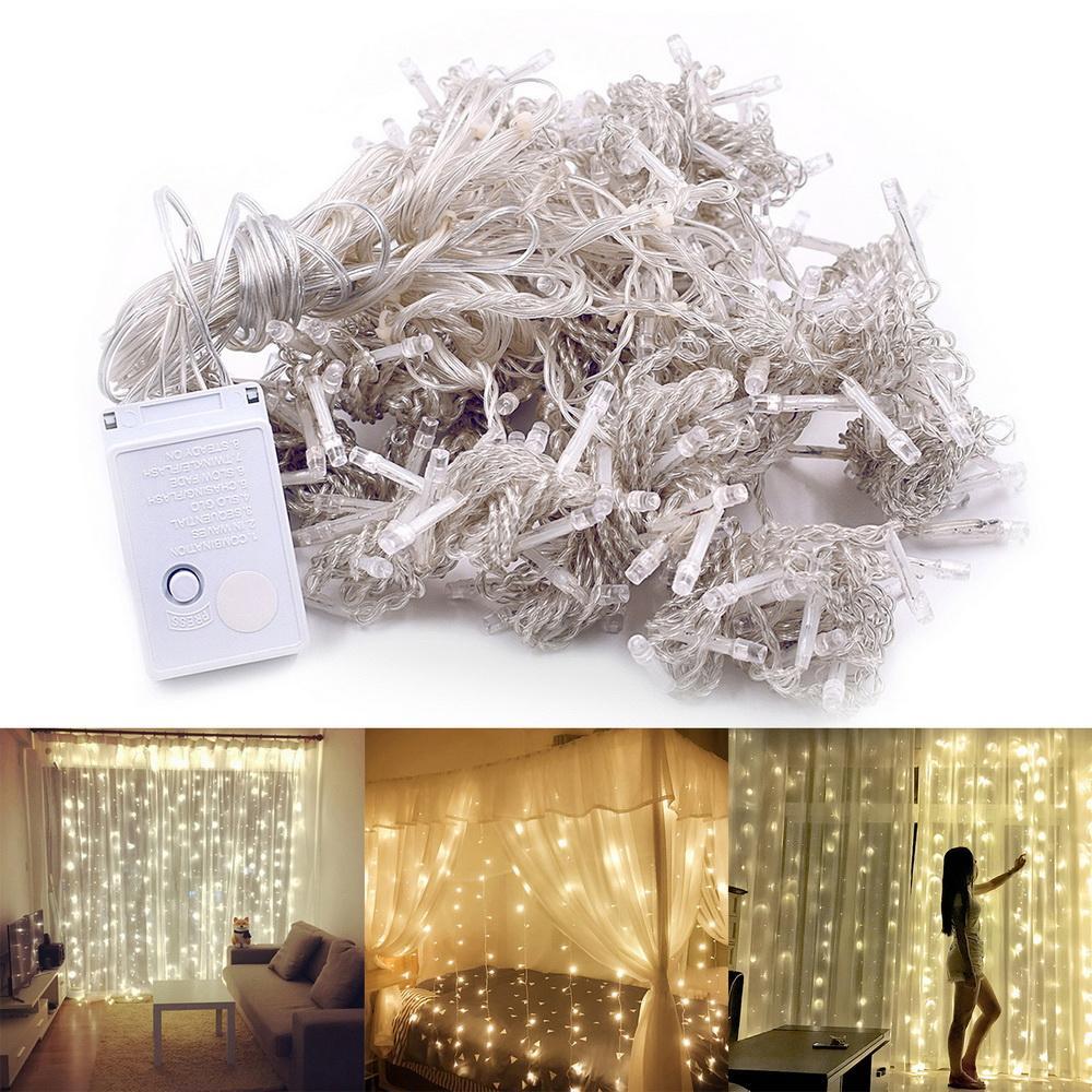 3M x 3M Warm White Light Romantic Christmas Wedding Outdoor Indoor Decoration Curtain String Light 300-LED