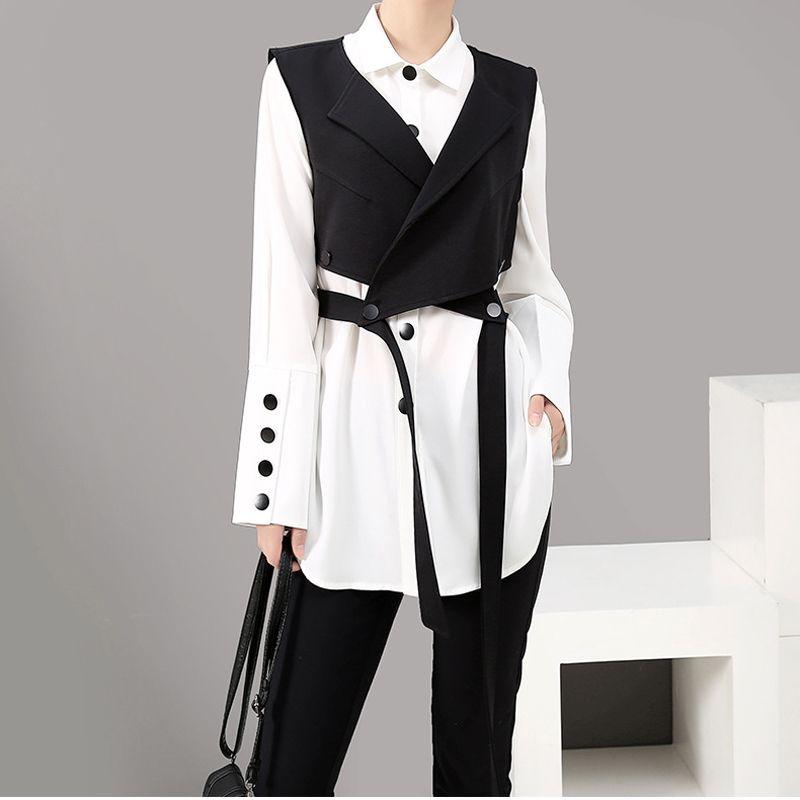 Южная Корея East Gate осень зима новый женский Платье Design Sense и футболка с длинным рукавом жилет профессиональный костюм