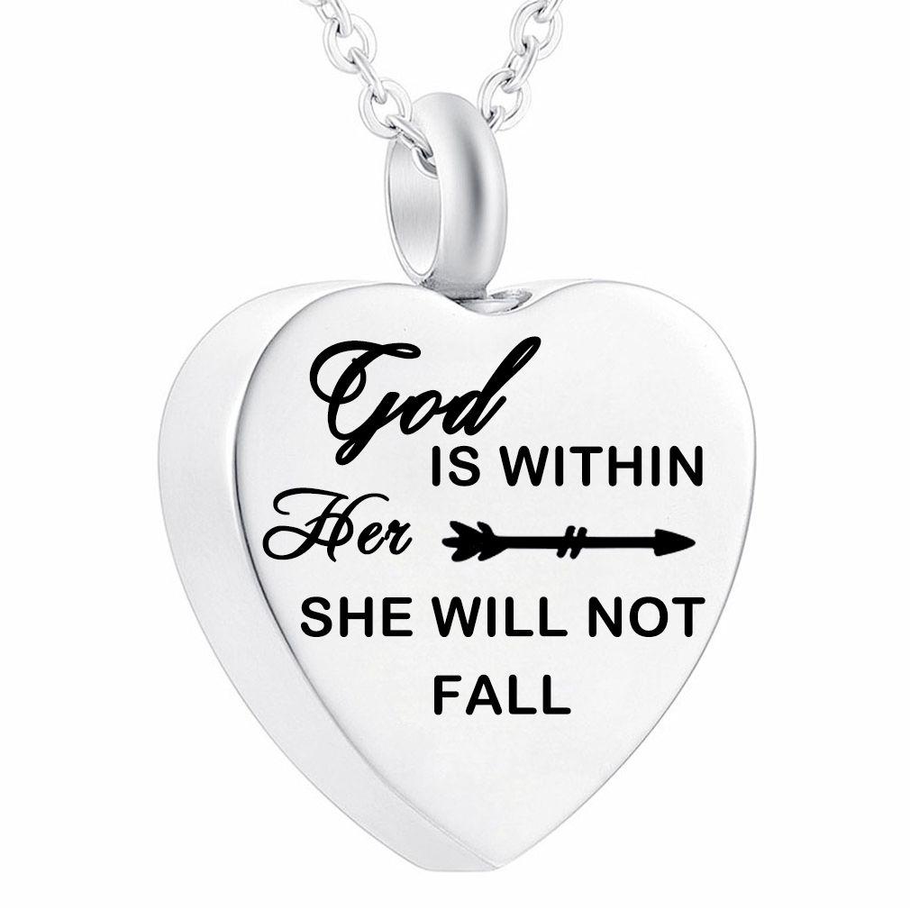 Dieu de bijoux en acier inoxydable Collier est en elle, elle ne tomberons pas Crémation Pendant Memorial avec le kit de remplissage
