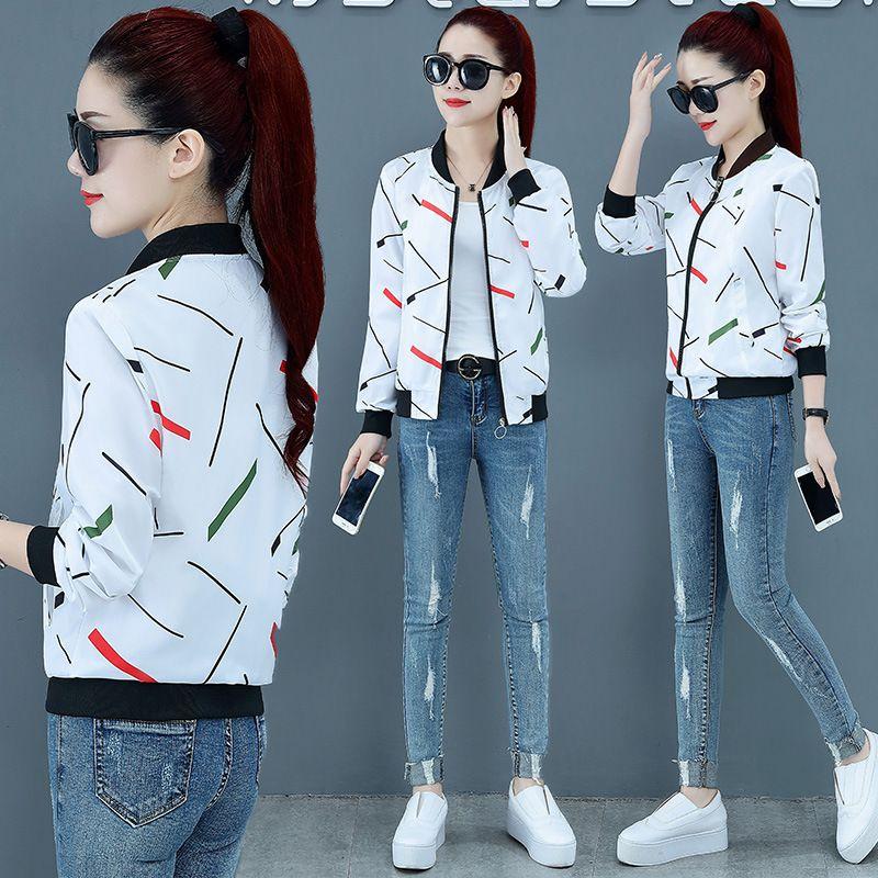 2020 Новая весна осень с капюшоном куртки Double Side Wear Пальто и куртки Женщины печати Плюс Размер Женщины Весна Outwears NS4477