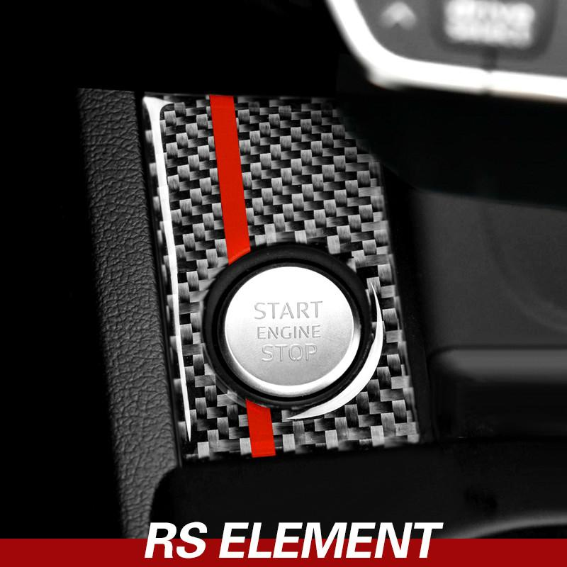 For Audi A4 A5 Carbon Fiber Car Engine Start Stop Ignition Cover Trim Key Ring Automotive Interior Stickers Decals 2017-2022