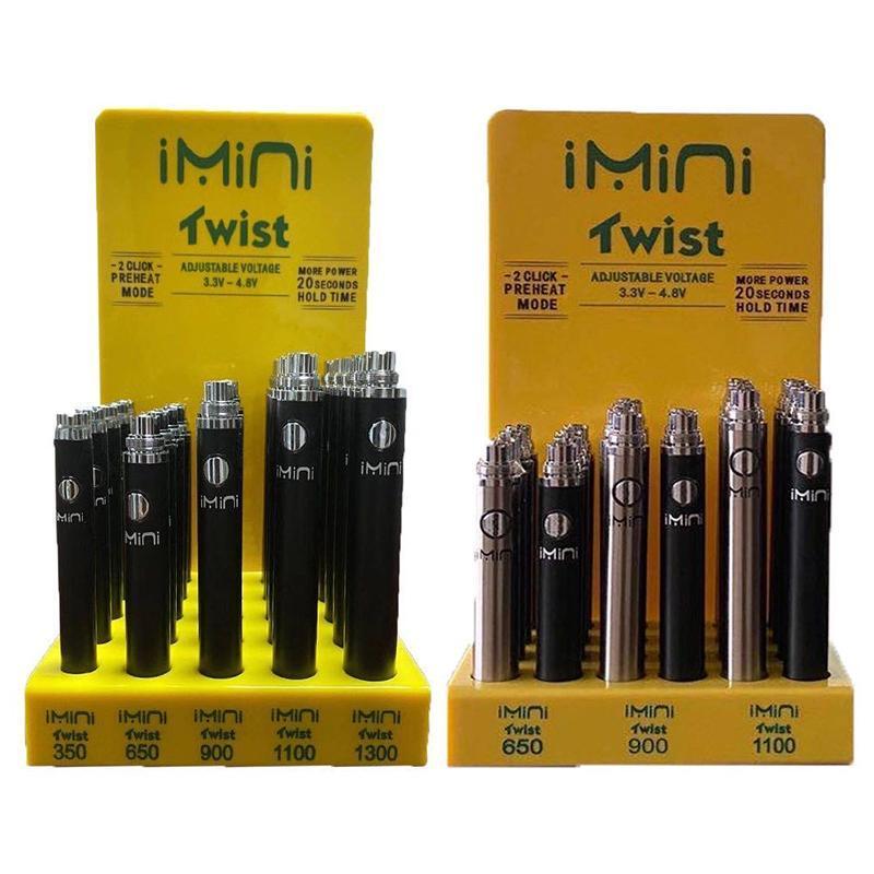 도매 510 스레드 Imini 트위스트 배터리 전압 조정 Vape 펜 24PCS / 로트 25pcs / 많이 350 650 900 1100 E 담배 1300mAh 배터리 스팟