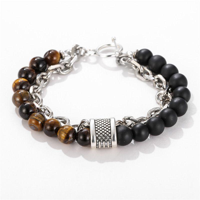 Nouvelle pierre naturelle des hommes Bracelet en perles pour les femmes Bracelets en acier inoxydable Homme bijoux à la mode style punk givré Bracelet Accessorie