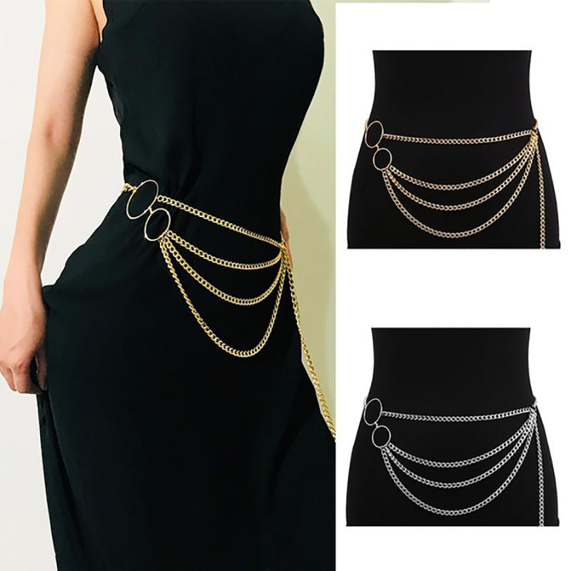 2020 Mulheres cintura All-Match Multilayer longa borla para festa de jóias vestido de cintura Cintos corrente de prata de ouro