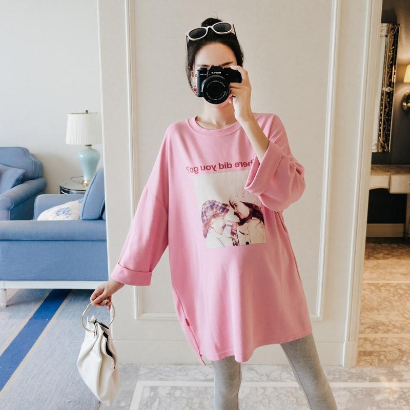 Der Frühherbst schwangere Frauen Casual Anzug Karikatur lose große halbe Länge gedruckt abgeschnitten Hülse dresst-Shirt-Kleid T-Shirt der Frauen dres