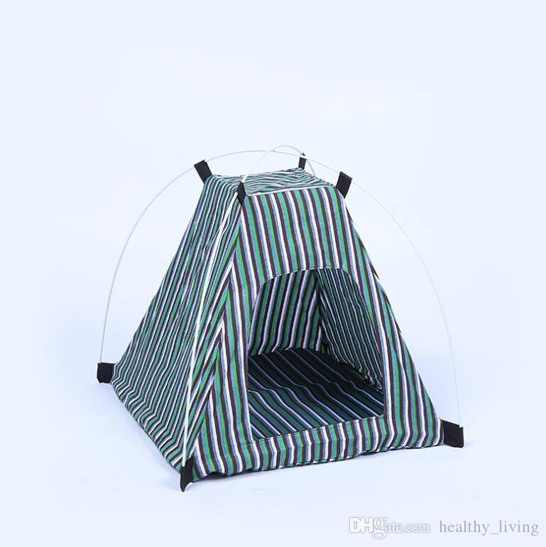 Creative Portable Folding Striped Pet Tent Dog House Cage Dog Cat Tent Playpen Puppy Kennel Easy Operation Outdoor Supplies 2277 211