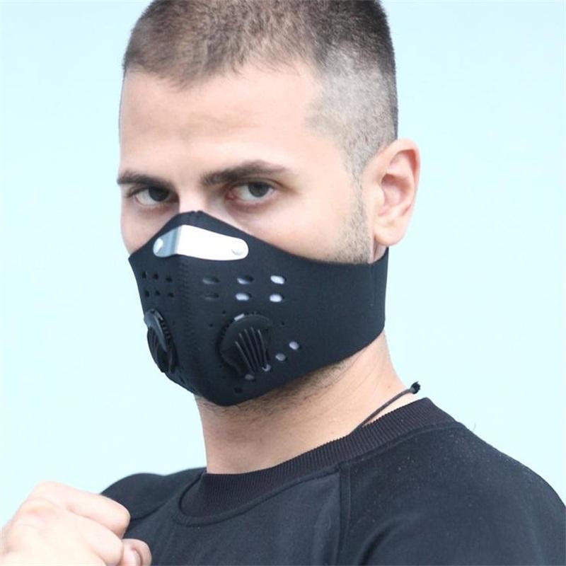 En Filtro de máscara facial con respiradores Válvula PM2.5 la máscara protectora del Boca Máscaras anti polvo a prueba de polvo de protección Hombres elástico de las mujeres de la cara