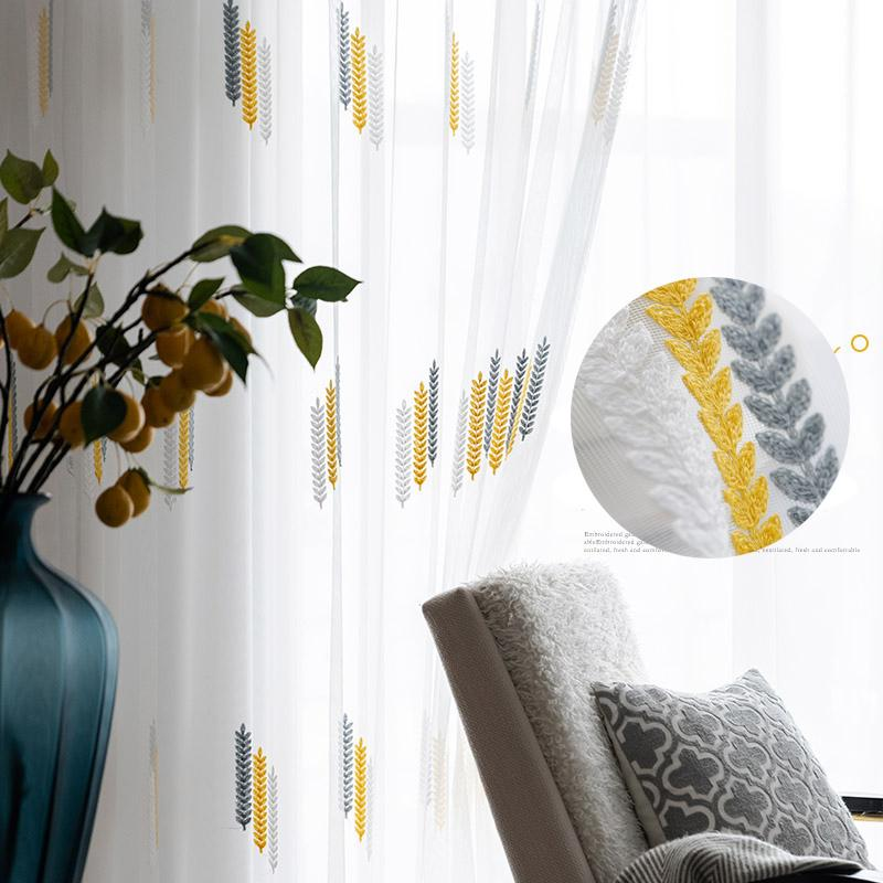 Leaf Embroidered Tulle Curtains For Living Room Luxury Modern White Sheer Curtains For Bedroom Mesh Bay Window Fabric