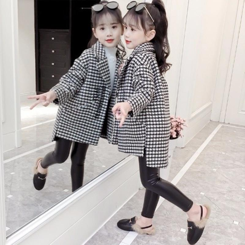 ins hot girls Woolen coat 3-13 years old Houndstooth thick coat Children's wear girls spring and autumn models woolen coat long