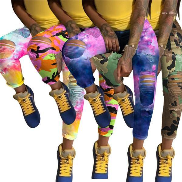 Hole matita Pantaloni a vita alta moda Skatedboard donne di autunno Pantaloni Abbigliamento 3XL Tie Dye progettista delle donne Jeans slim