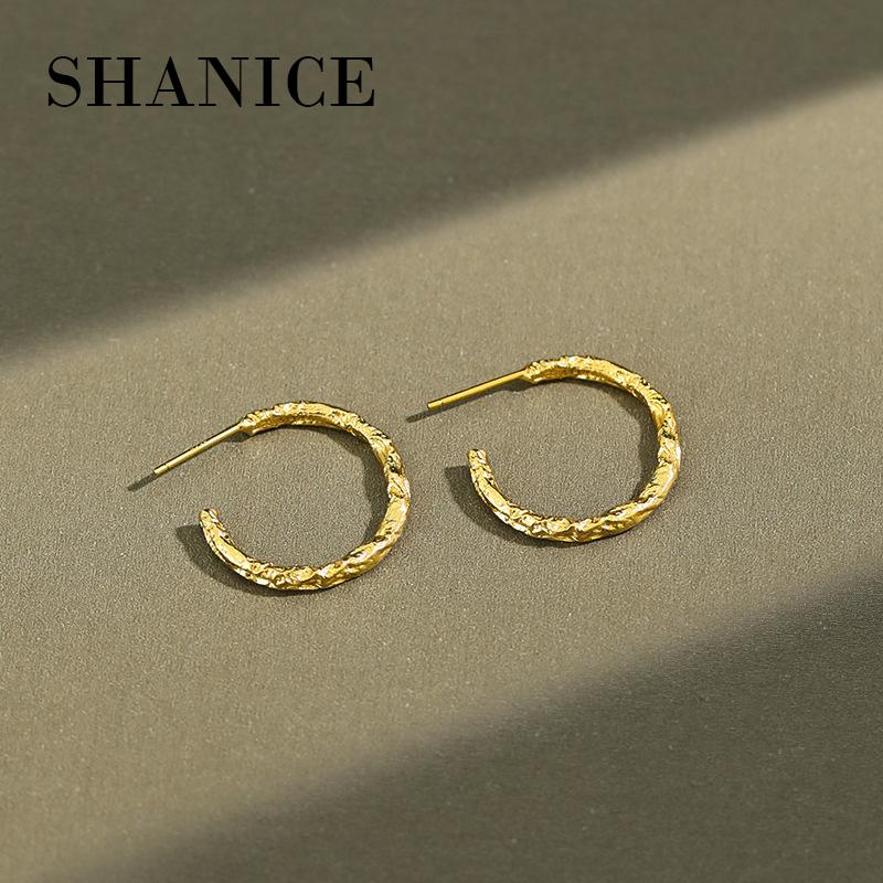 padrão Shanice S925 Sterling Silver Mulheres Côncavo-convexa Tinfoil Geometric Rodada Círculo Brinco Punk Hip-hop Fine Jewelry