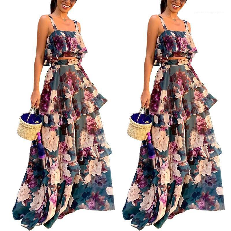 2 Stück Kleid-süße Rüsche-Rock-Sling Maxikleider Mode Frauen Tracksuits Blumenmuster Designer Tracksuits Frauen Sexy