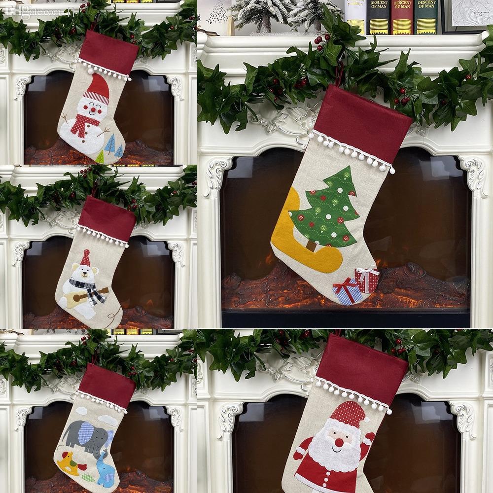 chC7W de Navidad de encargo del día de Navidad bordado Calcetines Inglés alfabeto Feliz decoración grandes no tejidas regalos regalos de los niños