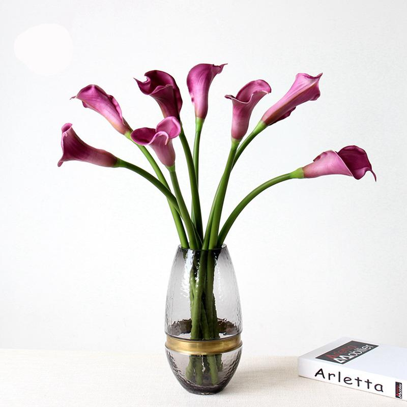 12pcs Real Touch PU Artificial Calla Lily Flowers 53cm Long Home Wedding Decoration Fake Flower