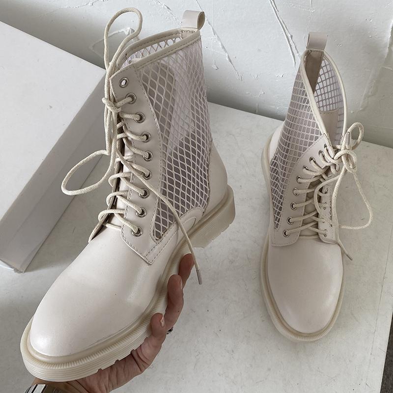 2020 겨울 패션 여성 라운드 발가락 블랙 앵클 부츠 크로스 타이 업 부츠 가죽 메쉬 베이지 색 여성 발렌타인 신발