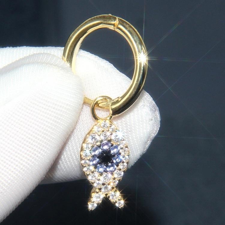 brincos de prata esterlina das mulheres incrustada de cristais de diamante anel de orelha peixes perso Dilireba mesmo estilo sv4uG Um diamante de cristal Brincos família s925
