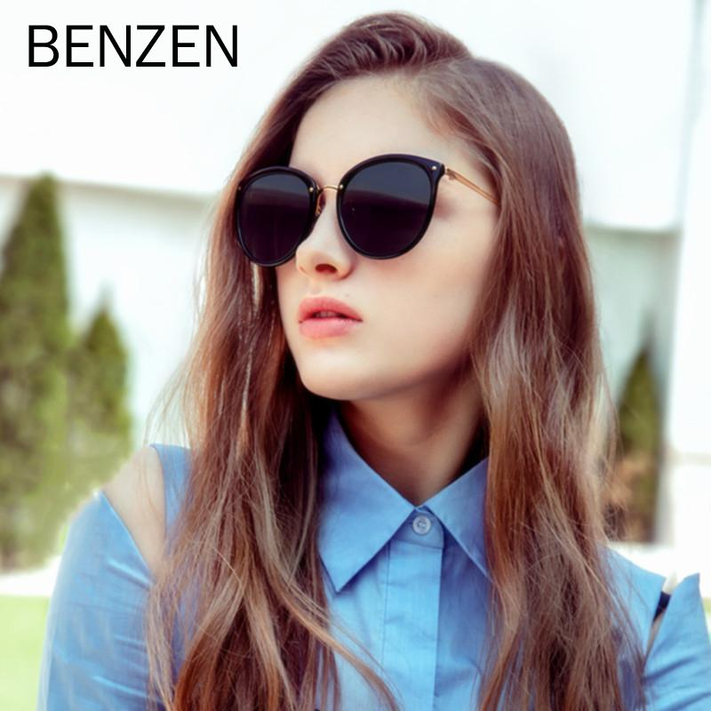 Benzen luxo óculos polarizados Mulheres Round Vintage Sun Glasses Para Driving Eyewear UV 400 Female Shades 6591B