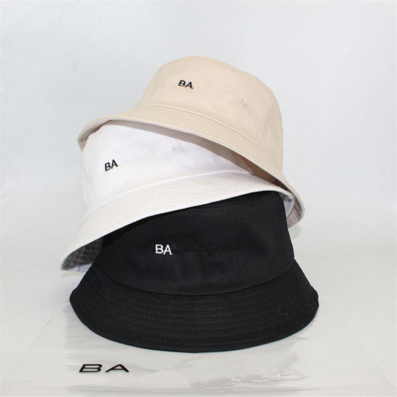 Carta bordado del sombrero del cubo del algodón sombreros de la pesca BA visera del verano hombres del casquillo de las mujeres Sunhat moda Desing pescador Sombreros de Hip Hop Caps regalos salacot