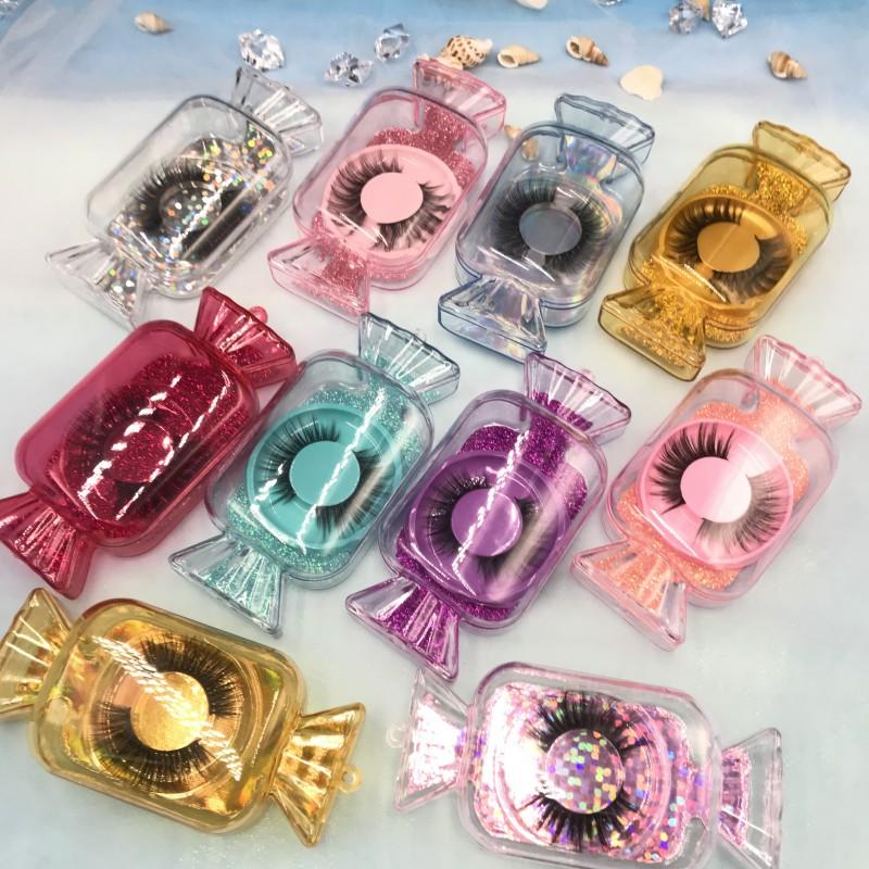 15-22mm 5D Faux Mink Eyelashes with Candy Lashes Box Natural Length 2020 New Styles Makeup Eye Lash FDshine