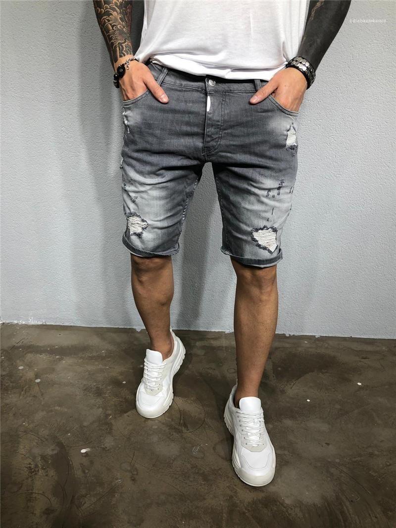 Кольцевые Джинсы Мужской Одежда 2020 Мужские дизайнерские Лето Короткие штаны Тонкий колен брюки Середина талии
