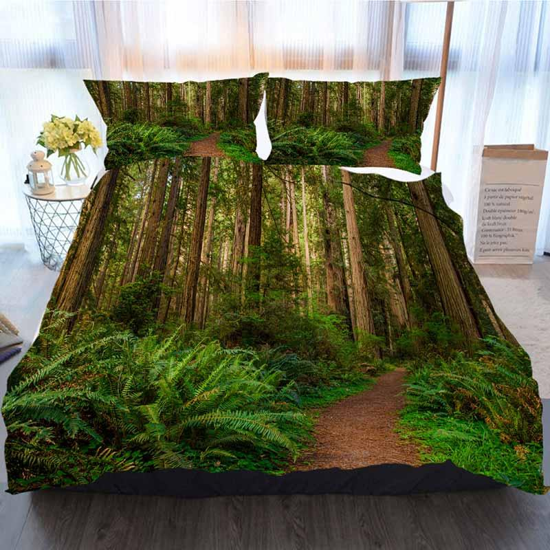 Los árboles de cama Conjunto 3 piezas funda nórdica, árboles gigantes y una ruta de senderismo en Redwood Bosque, suave edredón del consolador de la cubierta Casa de lujo