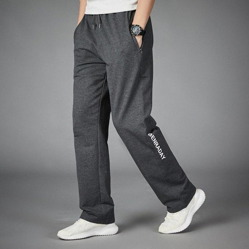 Pantalones para correr transpirable hombres de la aptitud del entrenamiento del deporte Joggers Loose pantalón jogging gran tamaño whwf #