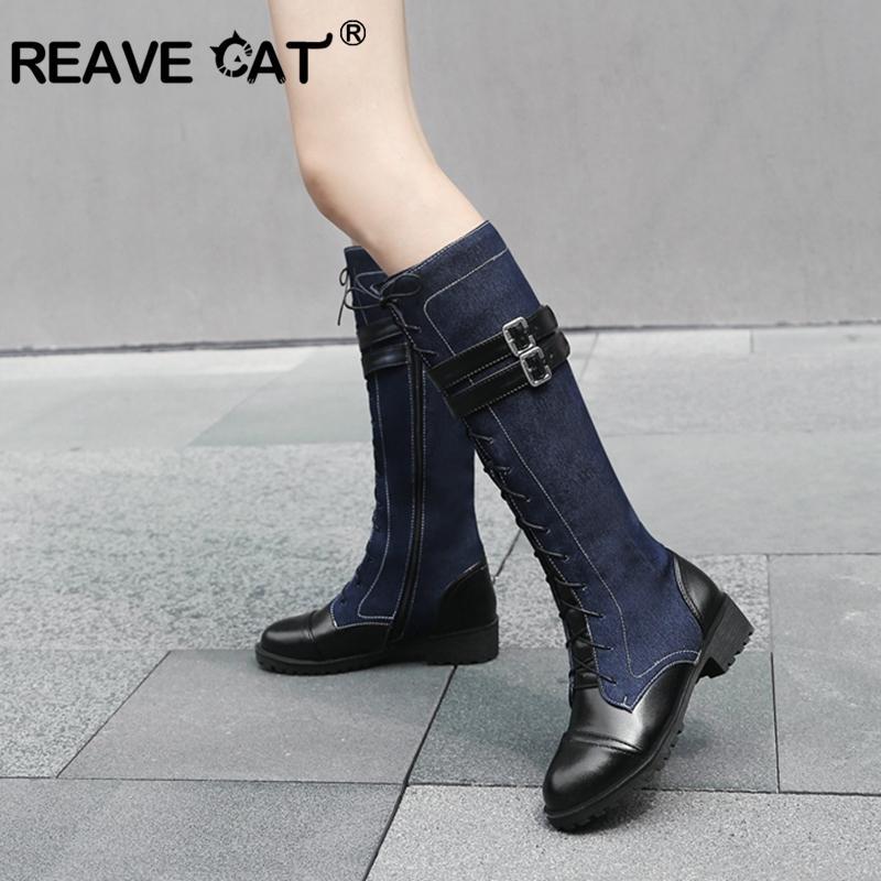 Reave CAT Inverno Sapatos Mulheres Round botas dedo do pé do joelho Buckle Lace up Denim + pu Botas de couro feminino mujer Med calcanhar botas A1386