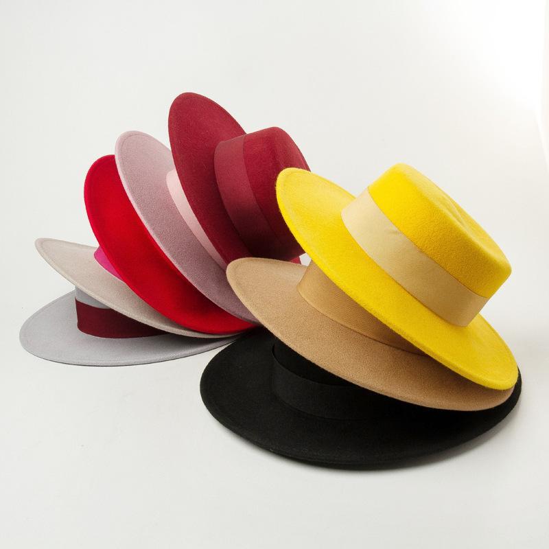 Lana niños niños del sombrero sombrero de fieltro de ala ancha muchacha de los muchachos de Fedora Niños Accesorios Kid cinta fieltro sombrero plano niñas grande de lana Cap S565