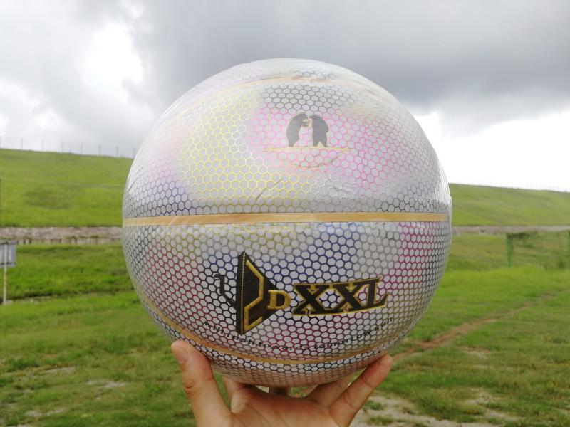 Nueva DXXL cuarto holográfica luminosa arco iris de baloncesto reflejar la luz blanca pelota de baloncesto de cuero de la PU tamaño de cubierta baloncesto al aire libre 7