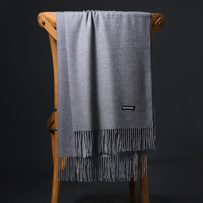 Lenços de marca mulheres cashmere espesso sólido scenf xales envolve feminino foulard hijab estolas tassel cabeça longa