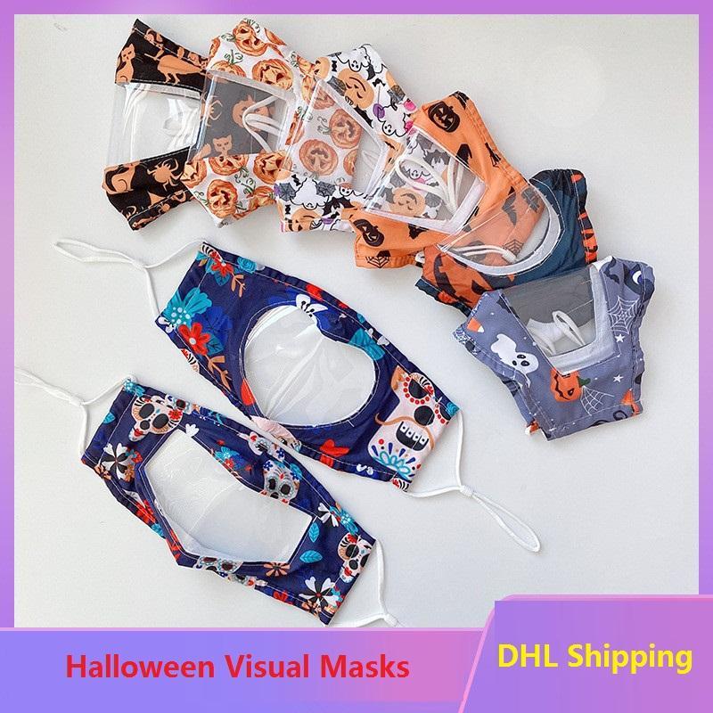 Adultos transparentes Máscaras de Halloween Visuales de labios Lenguaje Visual Máscaras triángulo invertido en forma de corazón Visual boca cara cubierta BWE1775
