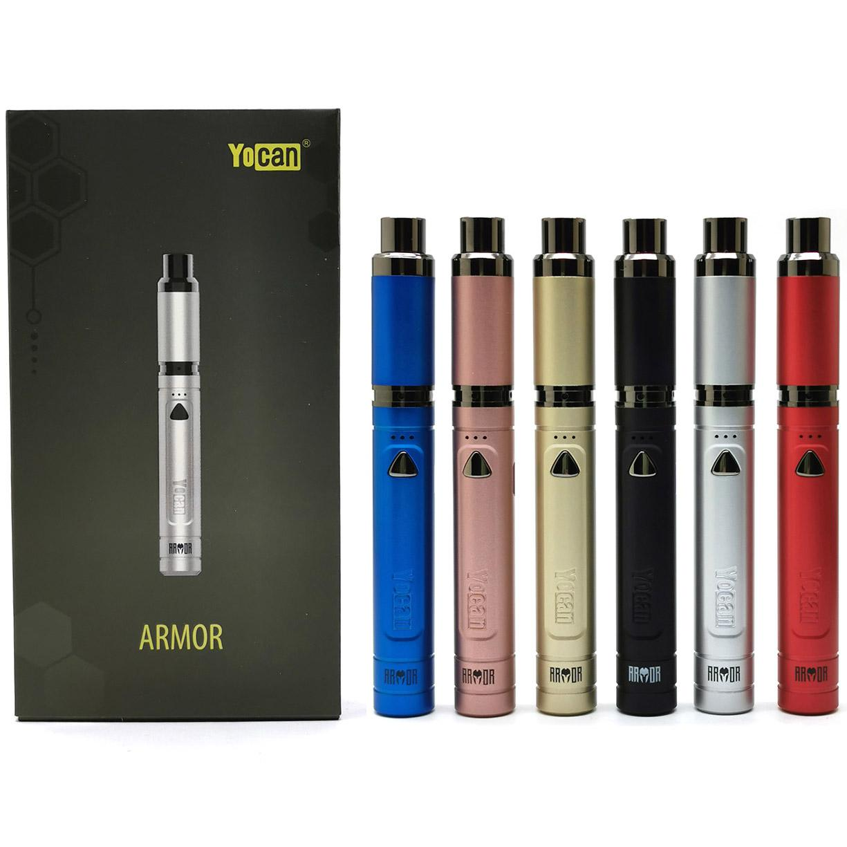 Yocan Armor Kit Wax Concentrate Vaporizer Electronic Cigarette Kit 380mAh Vape Battery With Quartz Dual Coil QDC 100% Original