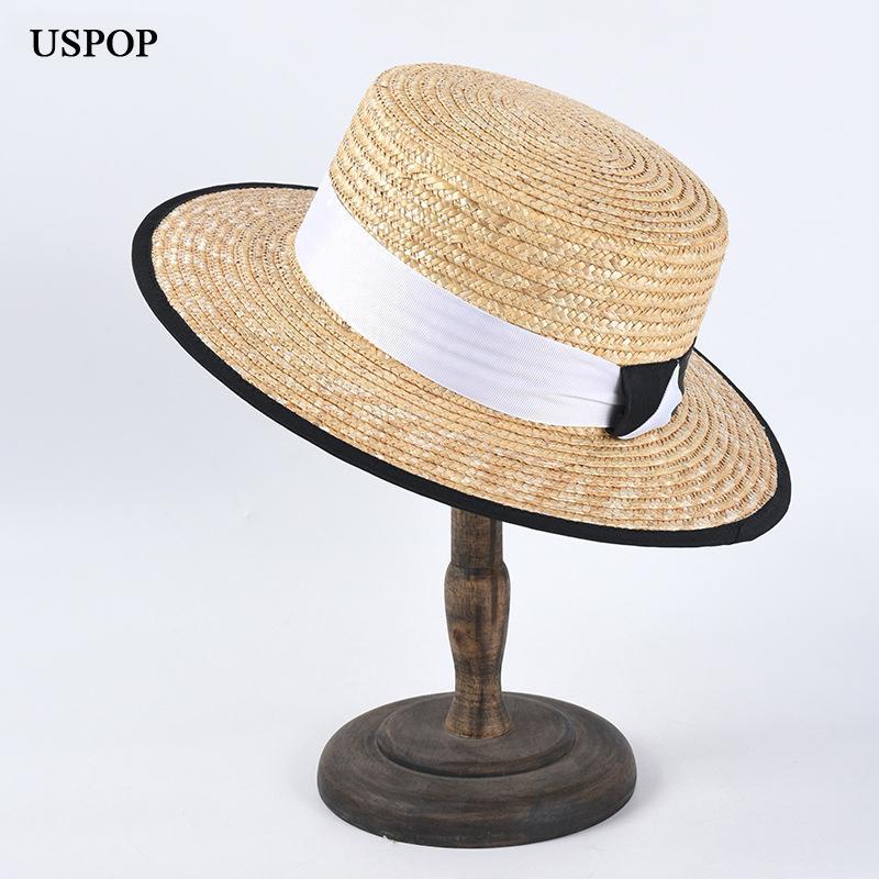 USPOP 2020 Nuovi cappelli estivi donne cappelli di paglia cappello di paglia naturale montatura femminile cima piatta patchwork bianco nastro nero spiaggia cappello