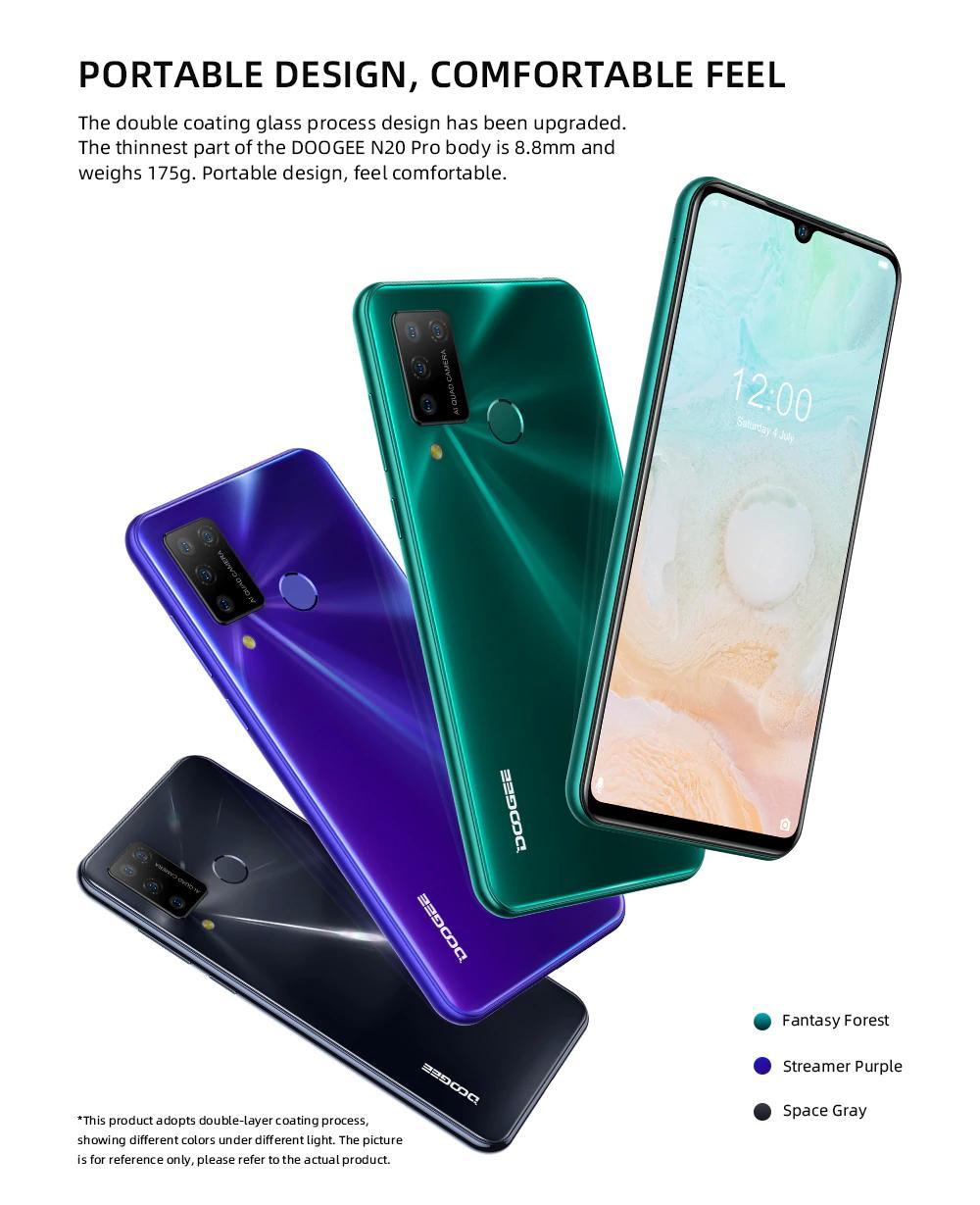 """Doogee N20 Smartphone Pro Quad caméras arrière 4400mAh 6Go RAM 128Go ROM 6.3"""" FHD + Affichage Android 10 mondial Version mobile Téléphone"""